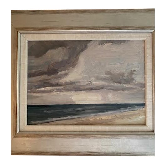 Original Seascape Painting in Silver Wood Frame For Sale