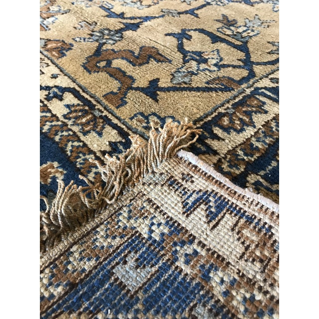 Antique Blue & Tan Turkish Rug - 8′10″ × 11′7″ For Sale - Image 9 of 12