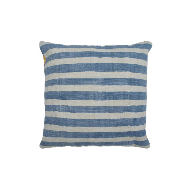 Block Printed Indigo Striped Pillow - Image 1 of 2