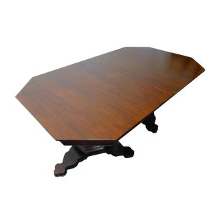 Ej Victor Transitional Banquet Size 10ft Double Pedestal Dining Table For Sale