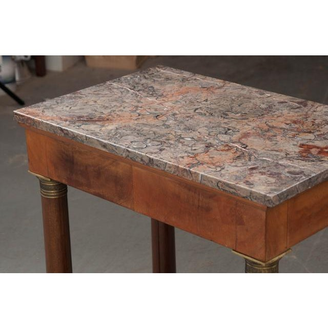 Early 20th Century Early 20th Century French Empire Mahogany Marble Top Table For Sale - Image 5 of 13