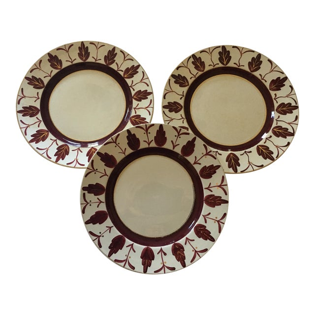 1930s/1940s Vintage English Handpainted Plates - Set of 3 For Sale