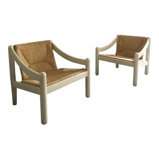 """Mid Century Modern Vico Magistretti for Cassina """"Carimate"""" Lounge Chairs- A Pair For Sale"""