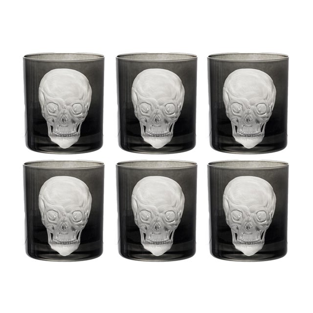 Victorian Skull Double Old Fashioned Glasses Black - Set of 6 For Sale - Image 3 of 3
