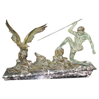 1940s French Art Deco Hunter Stalking Bird Patinated Metal Sculpture For Sale