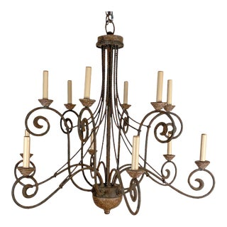 Vintage Wrought Iron and Wood Chandelier For Sale