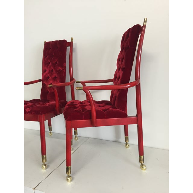 Mastercraft Red Tufted Velvet Mid-Century Modern Chairs - A Pair For Sale - Image 4 of 5