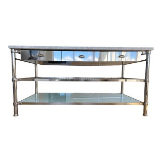 Williams Sonoma Kitchen Island With Marble Top For Sale