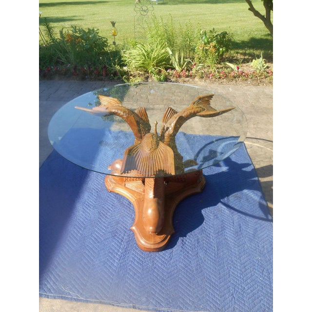 Glass Vintage Hand-Carved Triple Dolphin Serpent Center Table For Sale - Image 7 of 10