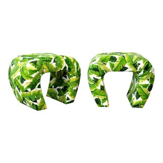 Pair of Steve Chase Banana Leaf Pattern Waterfall Benches For Sale