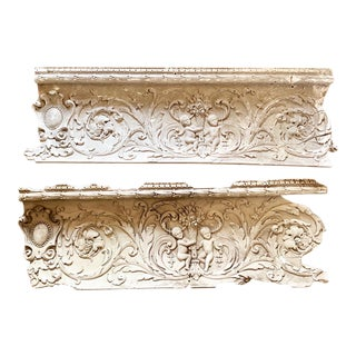 Late 19th Century Antique Plaster Crown Moldings- a Pair For Sale