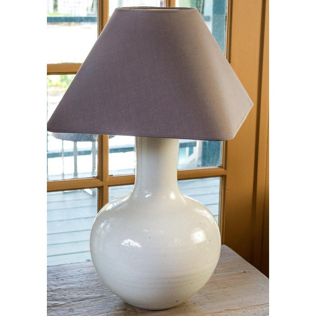 2010s Two White Glazed Table Lamps For Sale - Image 5 of 6