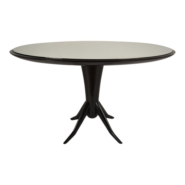 Vintage Laquered Round Mirrored Top Dining Table For Sale