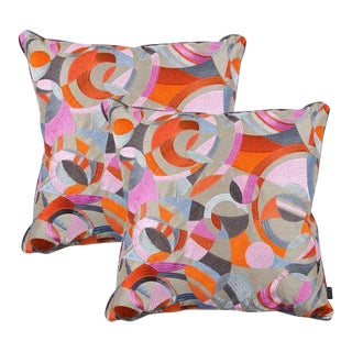 Zinc Fabric Orange & Gray Throw Pillows - A Pair