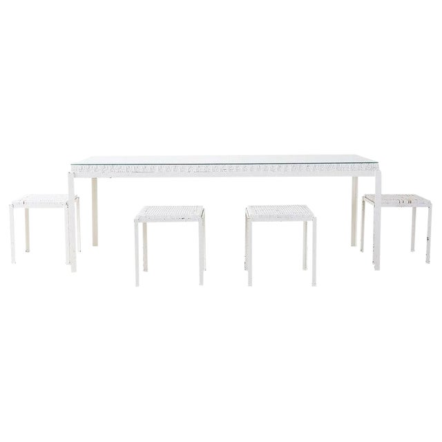 Danny Ho Fong California Modern Woven Cane Dining Table Set For Sale