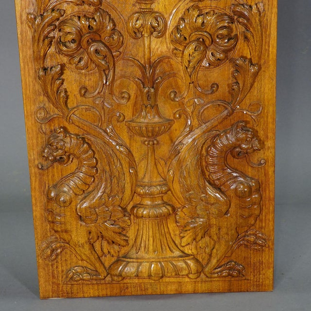 Wooden Carved Panel With Eagle and Gargoiles, Germany Ca. 1920 For Sale - Image 4 of 8