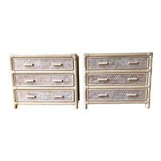 Mid Century Woven Raffia and Carved Wood Dressers - a Pair For Sale