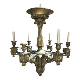 Monumental Regency Gilt Wood Chandelier, 19th Century For Sale