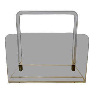Mid Century Lucite Magazine Rack For Sale