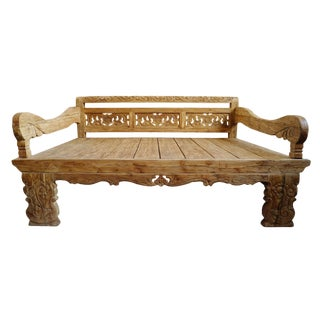Carved Back Balinese Daybed Full Size For Sale
