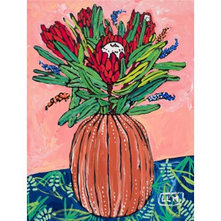 Protea Bouquet in Coconut Vase on Blush Floral Still Life Painting After Matisse For Sale