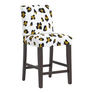 Counter Stool in Brush Cheetah Ochre For Sale
