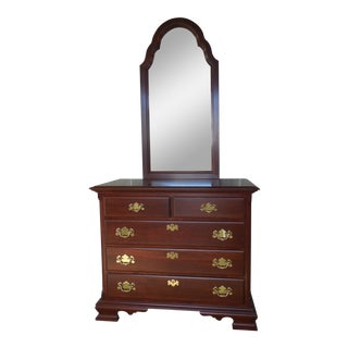 "COLONIAL FURNITURE CO. Cherry Chippendale Style Chest & Mirror 37.5""W"