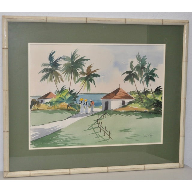 Mid-Century tropical Caribbean watercolor by John Ward c.1951. Original watercolor by listed Massachusetts artist John...