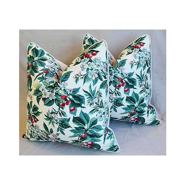 "Late 20th Century Custom Tailored Schumacher Cherry Blossom Feather/Down Pillows 23"" Square - Pair For Sale - Image 5 of 11"