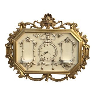 Hollywood Regency Very Large Gold Gilt Framed Clock With Shelves For Sale