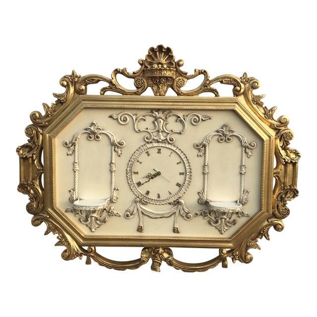 Hollywood Regency Very Large Gold Gilt Framed Clock With Shelves - Image 1 of 7