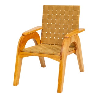 Bauhaus-Style Maple Lounge Chair With Nylon Webbed Seat For Sale