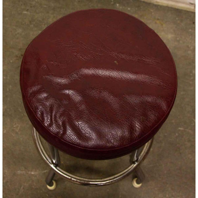 Traditional Red Leather Top Stool For Sale - Image 3 of 4