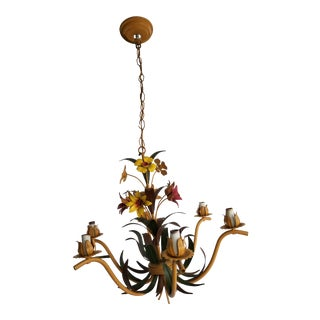 Italian Foliate Tole Chandelier For Sale
