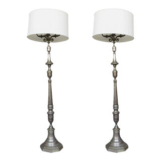 Pair of Brass and Bronze Floor Lamps With Three Candelabra Arms For Sale