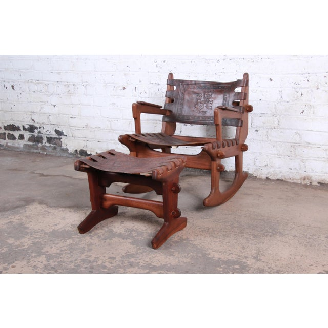 Angel Pazmino Teak and Leather Rocking Chair With Ottoman, Ecuador, 1960s For Sale - Image 12 of 12