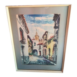 Original Painting of Spanish Village Scene For Sale