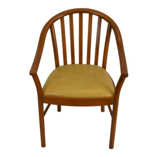 Windsor Style Wooden Armchair Made in Italy with Upholstered Seat For Sale