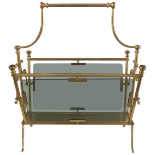 1970s Hollywood Regency Fontana Arte Brass Magazine Rack For Sale