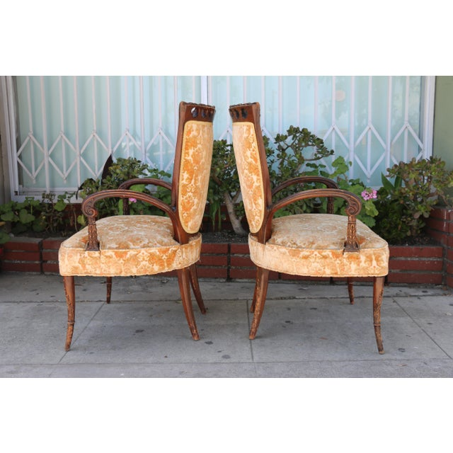 1940's Pair of Carved Chairs For Sale In Los Angeles - Image 6 of 12