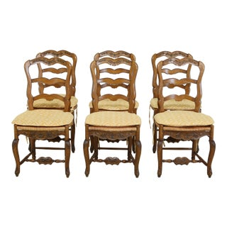 Set of 6 Pierre Dux French Style Rush Seat Dining Room Chairs For Sale