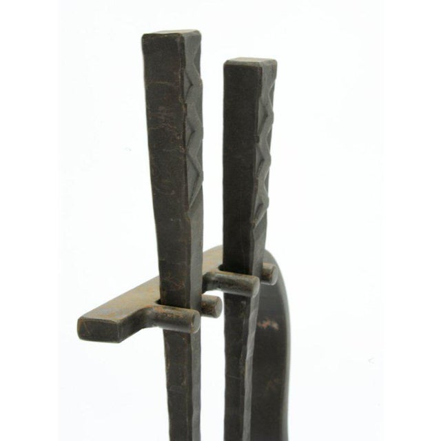 1960s Hand-Forged Iron Artisan Fireplace Tools For Sale - Image 5 of 7