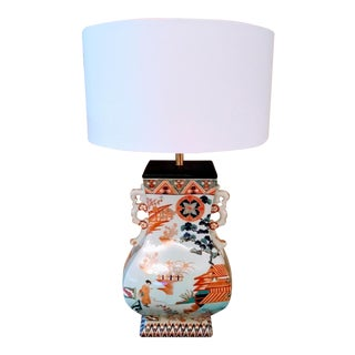 Rare Vintage Large Ceramic Bright Pale Blue and Orange Chinoiserie Pagoda Table Lamp For Sale
