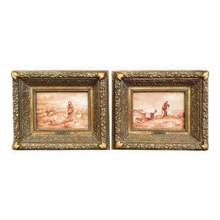 Pair of 19th Century French Porcelain Plaques in Gilt Frames Signed L. Levy For Sale