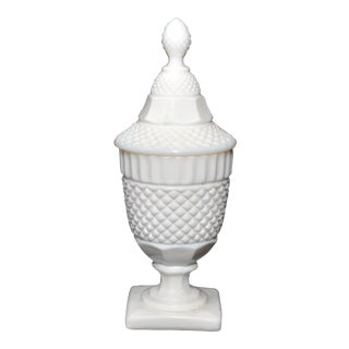 Westmorland English Hobnail Milk Glass Covered Apothecary Jar