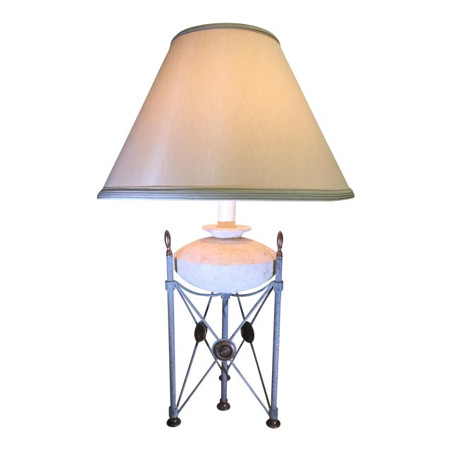 Frederick Cooper Triangle Pillar Table Lamp with Limestone Base For Sale