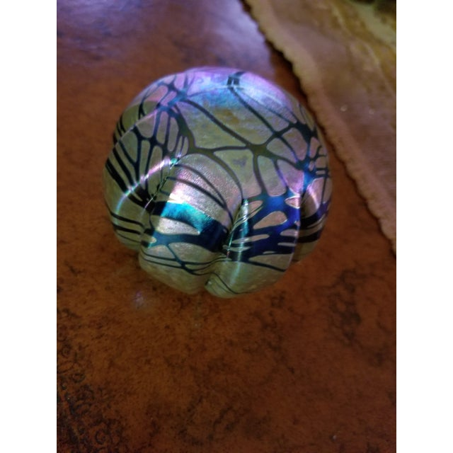 Vintage Brian Maytum Violet & Green Iridescent Paperweight For Sale - Image 4 of 6