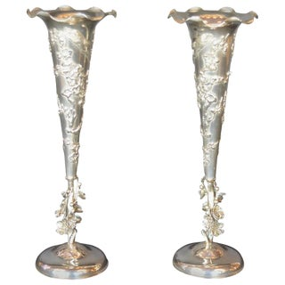 19th Century Quing Dynasty Silver Chinese Vases - a Pair For Sale