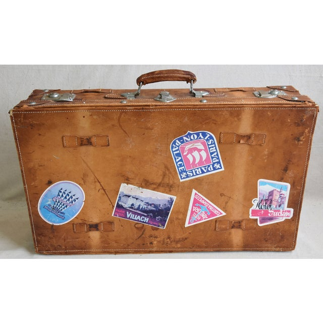 1940s Tanned Leather Suitcase Luggage With Travel Stickers For Sale In Los Angeles - Image 6 of 9