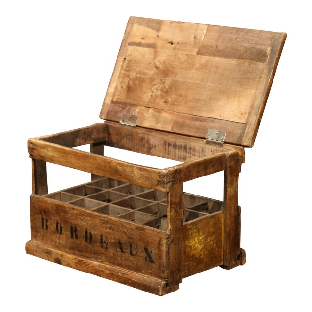 Old French Pine 15 Wine Bottle Storage Cabinet with Bordeaux Inscription For Sale